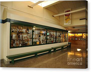 Trophy Case At Clare High School Canvas Print by Terri Gostola