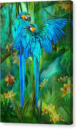 Tropic Spirits - Gold And Blue Macaws Canvas Print by Carol Cavalaris
