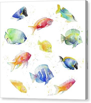 Tropical Fish Round Canvas Print by Lanie Loreth