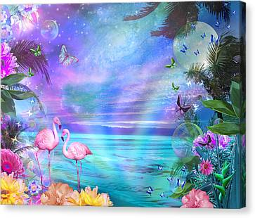 Tropical Moonlight Flamingos Canvas Print by Alixandra Mullins