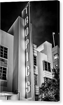 Tropics Hotel Art Deco District Sobe Miami - Black And White Canvas Print by Ian Monk
