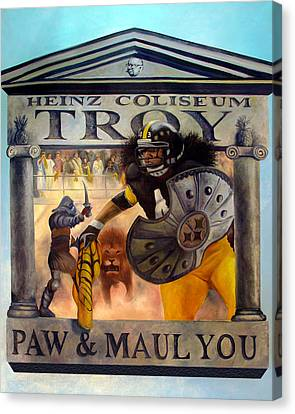 Troy Polamalu Canvas Print by Frederick Carrow