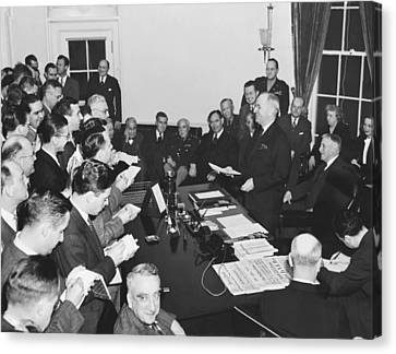 Truman Announces V-e Day Canvas Print by Underwood Archives