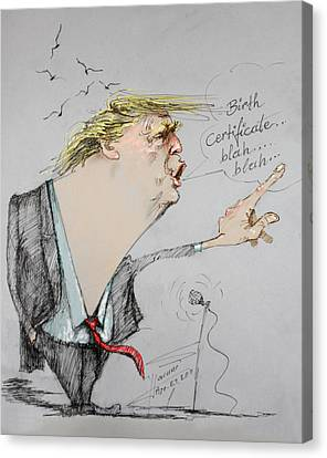 Trump In A Mission....much Ado About Nothing. Canvas Print by Ylli Haruni