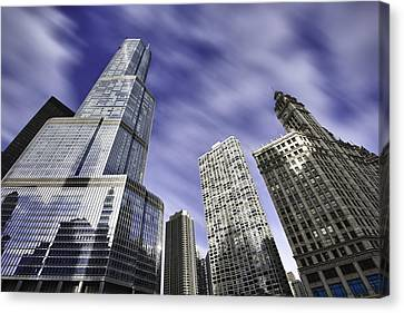 Trump Tower And Wrigley Building Canvas Print by Sebastian Musial