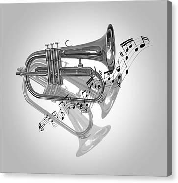 Trumpet Fanfare Black And White Canvas Print by Gill Billington