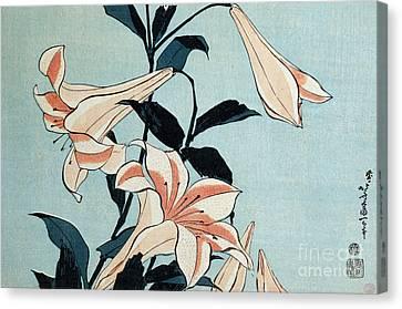 Trumpet Lilies Canvas Print by Hokusai