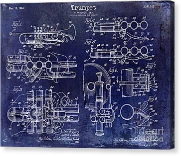 Trumpet Patent Drawing Blue Canvas Print by Jon Neidert