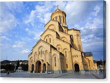 Tsminda Sameba Cathedral Tbilisi Georgia Canvas Print by Robert Preston