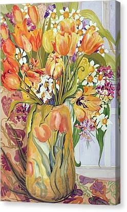 Tulips And Narcissi In An Art Nouveau Vase Canvas Print by Joan Thewsey