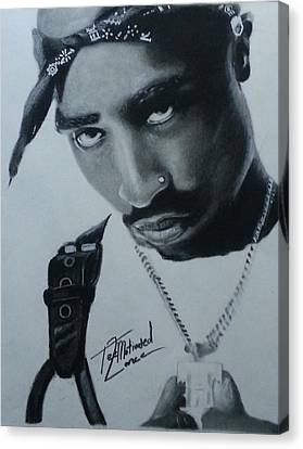 Tupac Charcoal Sketch Canvas Print by Lance  Freeman