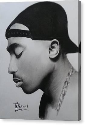 Tupac Shakur Charcoal Canvas Print by Lance  Freeman