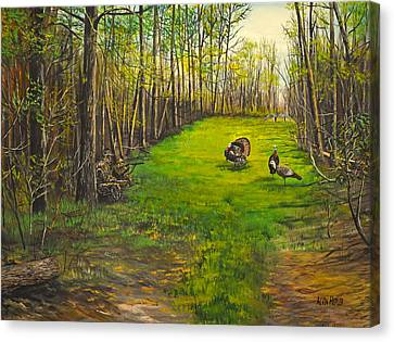 Turkey Hunt With Grandpaw At The Gas Line Canvas Print by Alvin Hepler