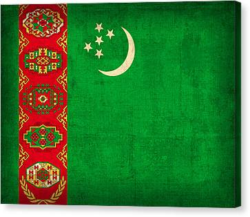 Turkmenistan Flag Vintage Distressed Finish Canvas Print by Design Turnpike