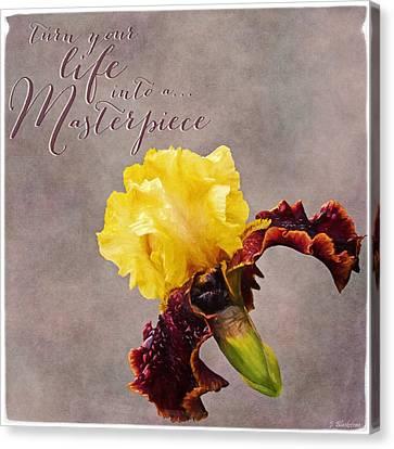Turn Your Life Into A Masterpiece - Vintage Flower Art Canvas Print by Jordan Blackstone