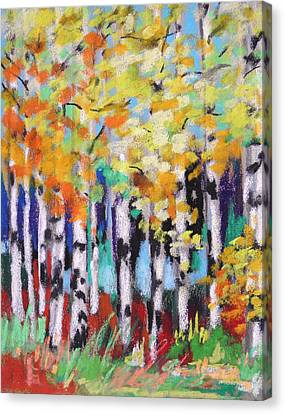 Turning Birches Canvas Print by John Williams