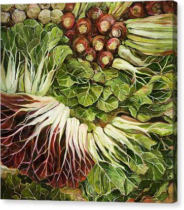 Turnip And Chard Concerto Canvas Print by Jen Norton