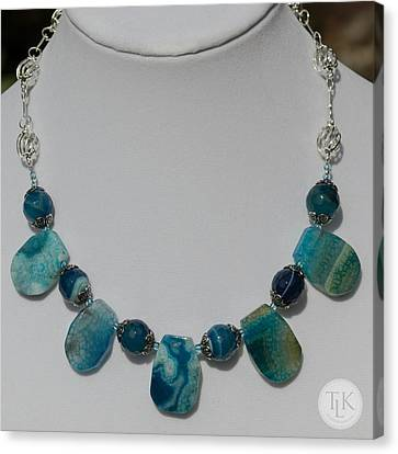 Turquoise And Sapphire Agate Necklace 3674 Canvas Print by Teresa Mucha
