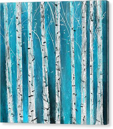 Turquoise Birch Trees II- Turquoise Art Canvas Print by Lourry Legarde