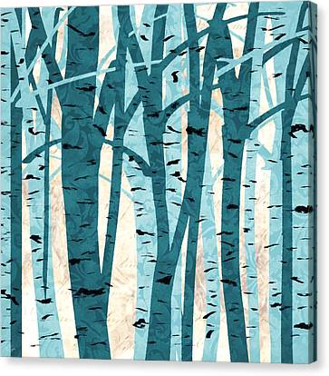 Turquoise Birch Trees Canvas Print by Lourry Legarde