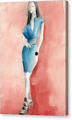 Turquoise Dress Watercolor Fashion Illustration Canvas Print by Beverly Brown Prints