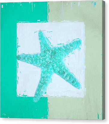 Turquoise Seashells Ix Canvas Print by Lourry Legarde