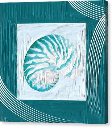 Turquoise Seashells Xxi Canvas Print by Lourry Legarde