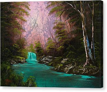 Turquoise Waterfall Canvas Print by C Steele