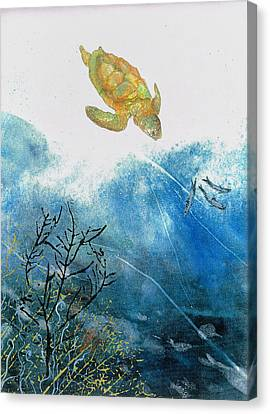 Turtle And Sea Fans Canvas Print by Nancy Gorr