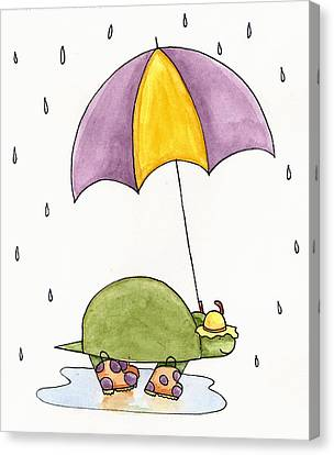 Turtle In The Rain Canvas Print by Christy Beckwith