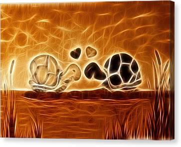 Turtles Love Fractalius Canvas Print by Georgeta Blanaru