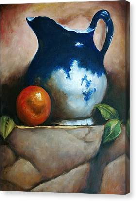 Tuscan Blue Pitcher Still Life Canvas Print by Melinda Saminski
