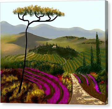 Tuscan Countryside Canvas Print by Larry Cirigliano