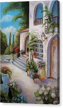 Tuscan Courtyard Canvas Print by Melinda Saminski