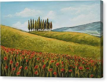 Tuscan Field With Poppies Canvas Print by Melinda Saminski