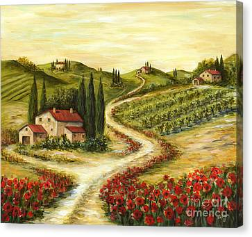 Tuscan Road With Poppies Canvas Print by Marilyn Dunlap