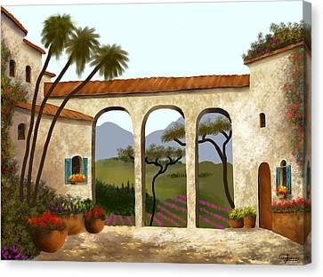 Tuscan Villa Of Beauty  Canvas Print by Larry Cirigliano
