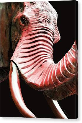 Tusk 4 - Red Elephant Art Canvas Print by Sharon Cummings