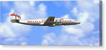 Twa Constellation Airliner Canvas Print by Mike McGlothlen