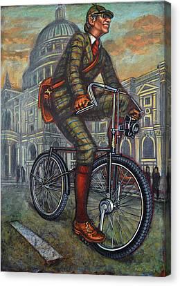 Bob On His Bantam St Pauls London Canvas Print by Mark Howard Jones