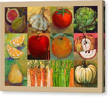 Twelve Colorful Foods Collage Canvas Print by Jen Norton