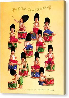 Twelve Drummers Drumming Canvas Print by Anne Geddes