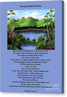 Twenty-third Psalm With Twin Ponds Blue Canvas Print by Barbara Griffin