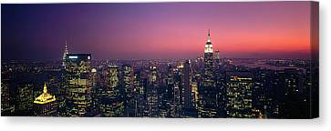 Twilight, Aerial, Nyc, New York City Canvas Print by Panoramic Images