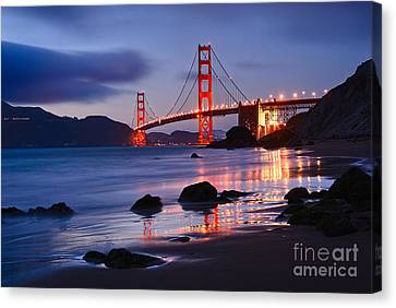 Twilight - Beautiful Sunset View Of The Golden Gate Bridge From Marshalls Beach. Canvas Print by Jamie Pham