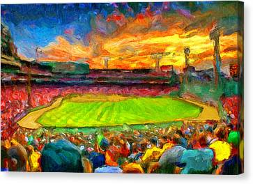 Twilight Fenway Park Canvas Print by John Farr