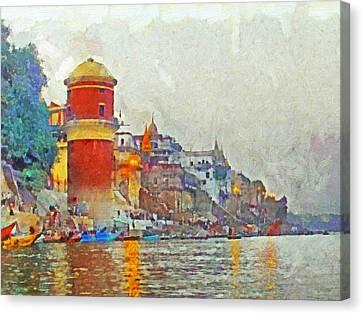 Twilight In Varanasi Canvas Print by Digital Photographic Arts