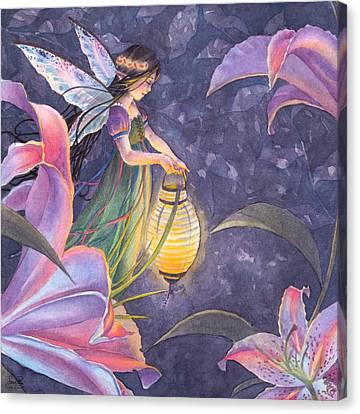 Twilight Lilies Canvas Print by Sara Burrier