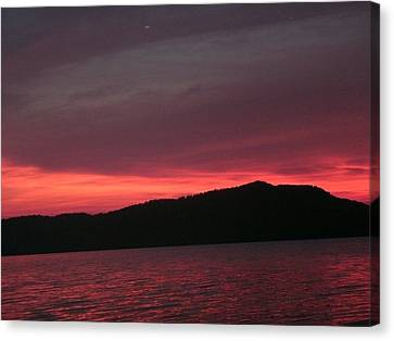 Twilight Over Cave Run Lake  Canvas Print by Amy Manley