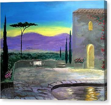 Twilight Tuscany Canvas Print by Larry Cirigliano